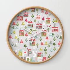 Happy Holidays Pattern Wall Clock
