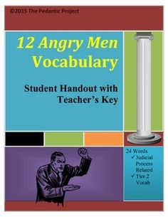 Vocabulary list with 24 terms used within the play, including legal terms relevant to understanding the play. Word bank and key provided. Vocabulary List, American Literature, 12th Man, Student, Key, Tools, Education, Memes, Instruments