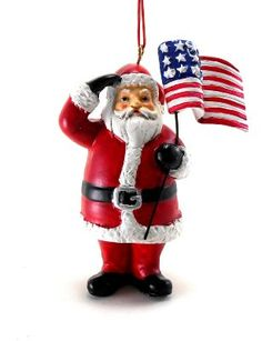 Patriotic Christmas ornaments - one of my favorites with Santa saluting the flag.