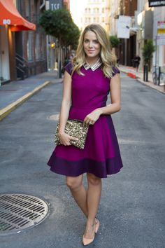 How gorgeous is this #RadiantOrchid color-block dress worn by @Julia Engel from Gal Meets Glam?! #ColoroftheYear