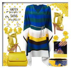 """""""Happy People Shine Brighter... Yellow & Blue"""" by helenaymangual ❤ liked on Polyvore featuring Fendi, VANINA, Diane Von Furstenberg, Dolce&Gabbana and Hermès"""