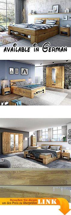 B073X866ML  Stella Trading Nessi Bett Holz weiß / beton 206 x 96 x - komplett schlafzimmer mit matratze und lattenrost