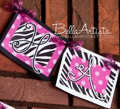 "Hot Pink & Zebra Banner ""Happy Birthday"" - bellaartista.artfire.com"