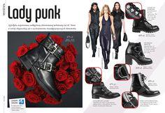 LADY PUNK! Glam rockowe dodatki opanowały niemal wszystkie elementy garderoby. Świetnie prezentują się w połączeniu ze skórą. Dlatego też zdobione metalowymi klamrami i nitami buty od lat nie wychodzą z mody. Punkowy akcent w postaci metalowych zdobień łączy w sobie elegancję z odrobiną pikanterii i buntu.