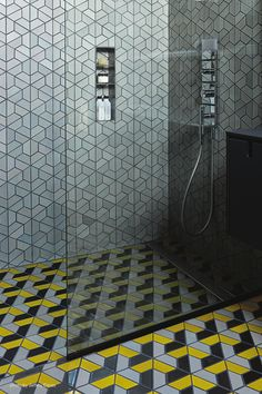 3D patterned tiles in this glass shower! Dwell Pattern Heath Tiles /