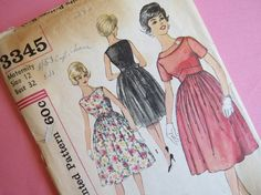 """""""simplicity 3345""""    1960s Womens Cocktail Dress Pattern Vintage by ErikawithaK, $22.00"""