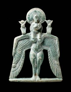 Faience winged goddess pectoral. Front view. Nubian. Napatan Period. Reign of Piankhy (Piye). 743–712 B.C. | Museum of Fine Arts, Boston