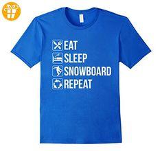 Funny Eat Sleep Snowboard Repeat TShirt Herren, Größe M Königsblau (*Partner-Link)