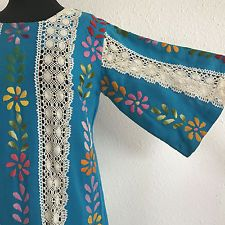 Vintage Mexican Wedding Dress Embroidered Flowers Lace 60s Blue Boho Hippie
