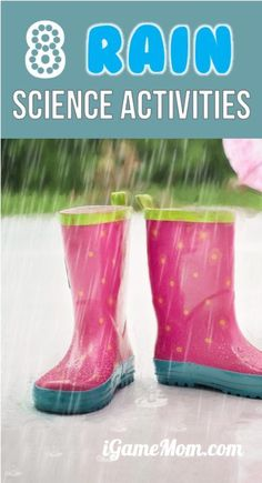 Fun rainy day science activities for kids to learn about rain. Great outdoor STEM fun for kids from preschool to school age. For weather unit, spring unit, water cycle unit, and nature science. Rainy Day Activities For Kids, Outdoor Activities For Kids, Steam Activities, Kids Learning Activities, Preschool Science, Science Experiments Kids, Science For Kids, Toddler Activities, Science Fun