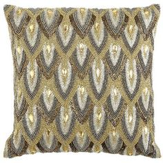 """Calico Metallic Beaded Scale Pillow - would love to substitute """"glam"""" fabric! Nicely done with zip back."""