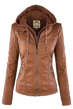 c454fe82235e5 Camel Plain Double Zipper Hooded Jacket Womens Brown Leather Jacket