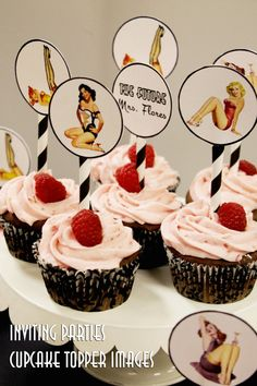 Pin Up Girl cupcake topper images- Bachelorette party, Hens night, Lingerie Shower, Birthday invite diy print file PRINT YOUR OWN on Etsy, $10.00