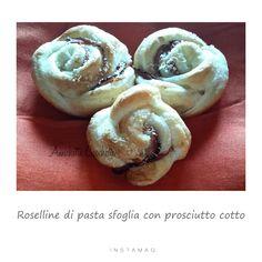 Roselline di pasta sfoglia con prosciutto cotto