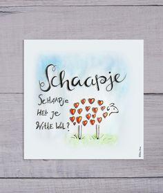 Schaapje schaapje // Ontwerp ellesanne.nl //Poster // Babykamer // Aquarel // Handlettering // Kinderliedje