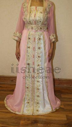 Brodé rose et blanc Takshita marocaine   caftan par iisheae sur Etsy Kaftan 603e54b9329
