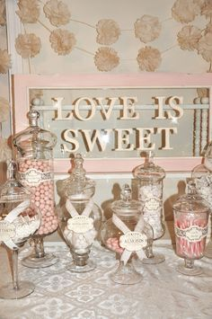 """Love is Sweet"" candy buffet! Cute sizes & little labels! love the pink & white! * also use white pretzels! Wedding Candy Table, Wedding Desserts, Wedding Favors, Diy Wedding, Wedding Decorations, Wedding Ideas, Buffet Wedding, Wedding Poses, Wedding Pictures"