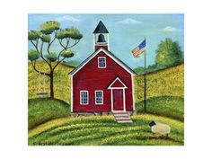 Giclee Print: Little Red School House by Cheryl Bartley : Wood School, Old School House, School Days, School Stuff, Farmhouse Paintings, Ap Studio Art, Unusual Buildings, Old Churches, Cottage House Plans