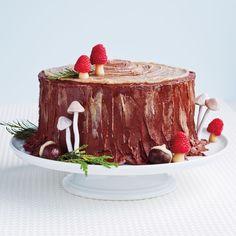 Upright Yule log raspberry mushroom tops!