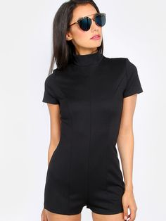 Online shopping for Mock Neck Short Sleeve Romper BLACK from a great selection of women's fashion clothing & more at MakeMeChic.COM.