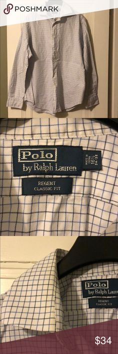 Polo by Ralph Lauren Button Down Dress Shirt Polo Button Down Dress shirt. 16 1/2 neck, Regent Classic Fit. White with blue check. Slightly yellow at the neck as pictured. Polo by Ralph Lauren Shirts Dress Shirts