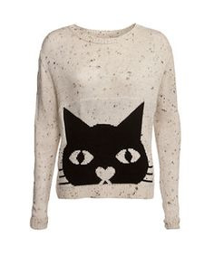 Stone (Stone ) Stone Speckled Cat Print Jumper | 270843216 | New Look