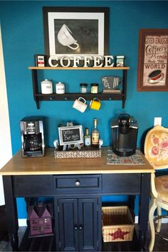 Love the blue wall behind this coffee bar! Lots more coffee bar ideas on this page as well as gift ideas for coffee lovers.
