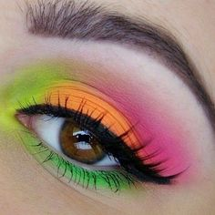 80's style - neon eye shadow for summer color blocking