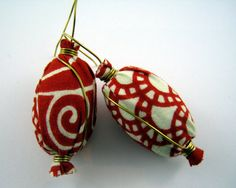 Red African Print Fabric Earrings