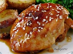 Korean Roast Chicken Thighs Recipe - I'd definitely classify this as Chinese, and not Korean, but whatever it is, it is YUMMY! (As always, read comments on recipe for good info!) Food.com