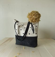 Canvas Tote Bag Large Zippered Waxed Canvas Tote Hand Painted Dotted by metaphore
