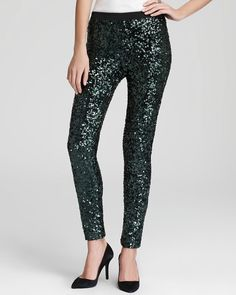 French Connection SZMED Green Sequin Leggings