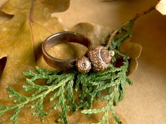 Ring with copper plating acorn Little acorns by SelenaStyleJewelry