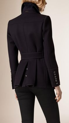 7ae1b3c9fb832 Pleat Detail Double-Breasted Wool Jacket
