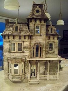 """The """"Sea Hag B A Beacon Hill"""". Again, another fantastic example of creating a haunted/witch house simply by distressing your dollhouse. Just LOVE it! ~i'm doing this [maybe just on a slightly smaller scale]~ ;)"""