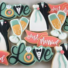 Wedding cookie set, champagne glasses, love, tuxedo, dress just married sign.