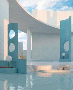 Bleu et plus bleu Architecture Design, Minimalist Architecture, Futuristic Architecture, Retro Interior Design, Appartement Design, Indoor Pools, Aesthetic Rooms, Dream Rooms, Cool Rooms