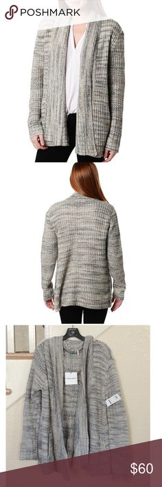 Three Dots Heather Gray Open Front Cardigan - **Reasonable Offers Welcome - No trades** - Shawl neck - Long sleeves - Open front - 2 side welt pockets - Allover knit pattern with ribbed accents - Imported - Fiber Content - 56% cotton, 37% acrylic, 7% polyester - Machine wash cold gentle Three Dots Sweaters Cardigans