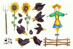 15 Watercolor Crows Clip Art Set by Tati Bordiu on @creativemarket