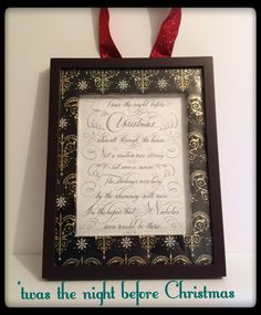 Twas the night before Christmas picture, using gift wrap to frame the story