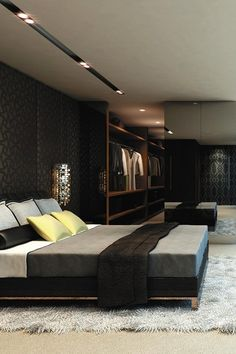 Luxury and elegant master bedroom in black and gold colour lines. For more ideas check our master bedroom collection http://www.bocadolobo.com/en/master-bedroom-collection/