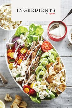 INGREDIENTS BY SAPUTO | Enjoy all the flavours of chicken Sharwama, but in a salad! Made with vegetables, Feta cheese, and sour cream, this recipe is fabulous and fresh! Feta Cheese Recipes, Salad Recipes, Healthy Recipes, Healthy Food, Saveur, Sour Cream, Cobb Salad, Salads, Good Food