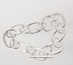Sterling-Silver Hammered Chain Bracelet with by RavelloDesigns