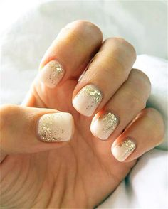 Home » Beauty » Our 30 Favorite Wedding Nail Design Ideas for Brides » gel color with some glitter wedding nail ideas