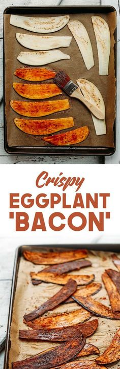 "Crispy Eggplant ""Bacon"" Crispy eggplant ""bacon"" to beh onest I'd skip the liquid smoke because who really likes that flavour anyway - Delicious Vegan Recipes Vegan Foods, Vegan Dishes, Paleo Vegan, Vegan Baking, Baker Recipes, Cooking Recipes, Crispy Eggplant, Vegan Eggplant Parmesan, Vegan Recipes"