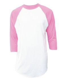 White & Pink Raglan Top - Unisex