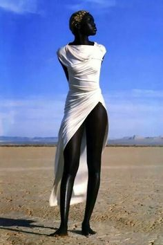 Alek Wek photographed by Herb Ritts for Vogue Paris April 1999 (wearing Emanuel Ungaro)