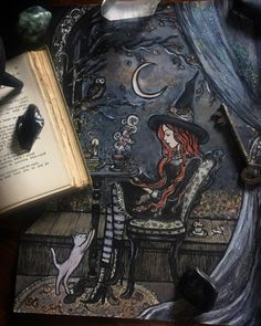 ladytor  ❧newly listed~ Study Break at Magick School❧ by: Lady Viktoria  The young student pauses to take in the swirl of magical knowledge she has just studied. She sets a simple spell on her tea, to infuse it with memory enhancing powers, a special little trick she learned. An owl hoots on a branch above a symbol of wisdom. A cat plays beneath her feet, a symbol of intuition, and a wee little mouse eyes the little treat shes saved for her break, an important symbol of focus. Wisdom, intu