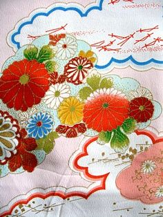 kimono fabric pattern, different sizes and colours of Chrysanthemums