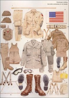 A colour plate of paratrooper clothing courtesy of Osprey Publishing. Military Gear, Military Weapons, Military Equipment, Military History, Diorama Militar, Us Army Uniforms, Osprey Publishing, Soldier Costume, Marine Corps